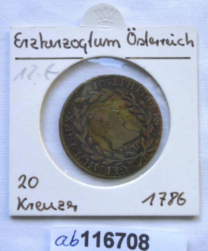 20 Kreuzer Silber Münze Ungarn KB Kremnitz Joseph II 1786 (116708)