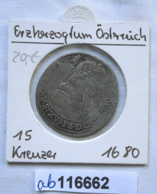 15 Kreuzer Silber Münze Österreich Kremnitz Bergstadt Leopold I.1680 (116662)