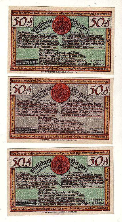 3 Banknoten 50 Pfennig Notgeld Gemeinde Hagen 1921 (116871)