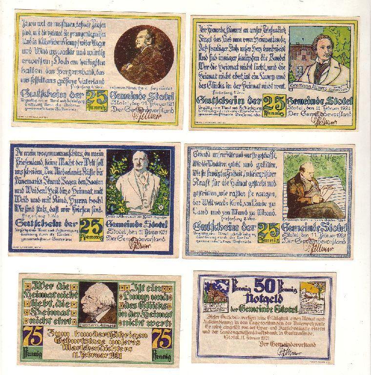 6 Banknoten 4x 25, 50, 75 Pfennig Notgeld Gemeinde Stotel 1921 (116444)