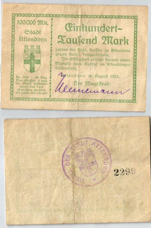 100000 Mark Banknote Stadt Attendorn 16.08.1923 (123014)