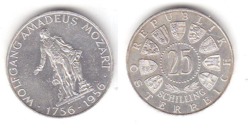 25 Schilling Silber Münze Österreich Mozart 1956 (113022)