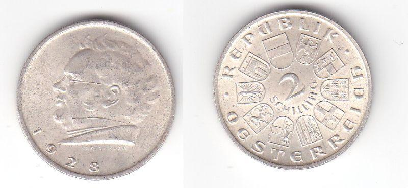 2 Schilling Silber Münze Österreich Schubert 1928 (116321)
