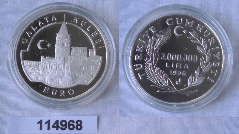 3 Millionen Lira Silbermünze Türkei Euro Galata Kulesi 1998 (114968)