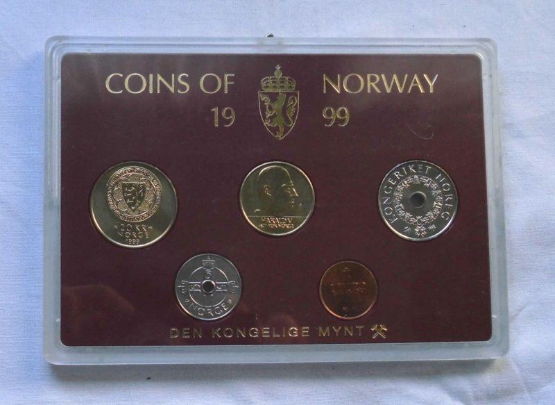 Kursmünzsatz Norwegen mit 5 Münzen 50 Øre bis 20 Kronen im Blister (105122)