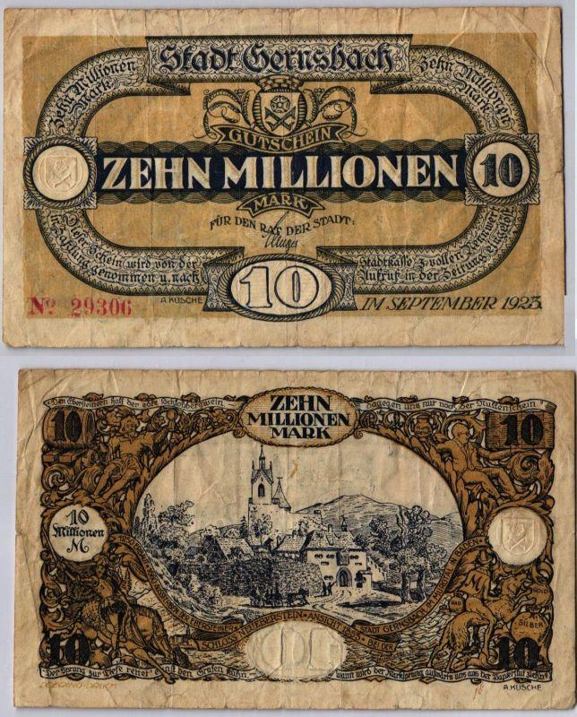 10 Millionen Mark Banknote Stadt Gernsbach September 1923 (122501)