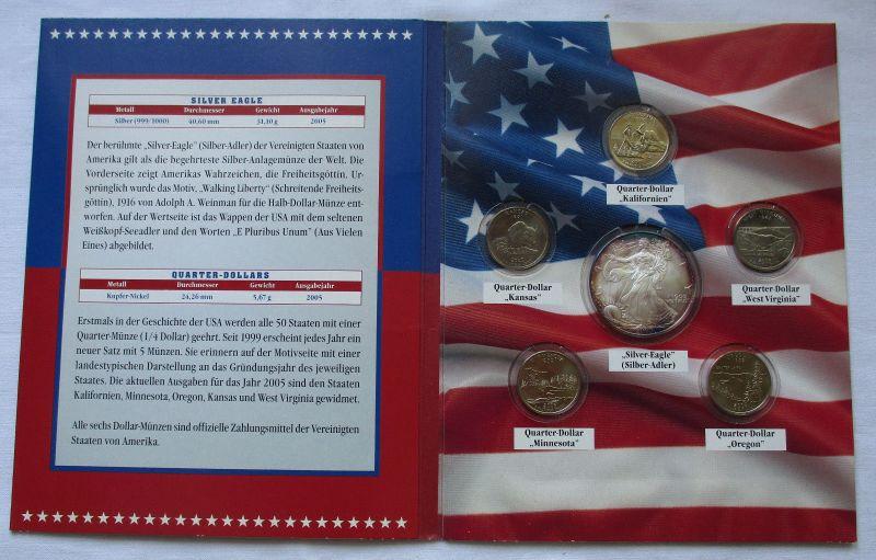 Original Kursmünzsatz Jahressatz mit 6 Münzen USA 2005 (124645)