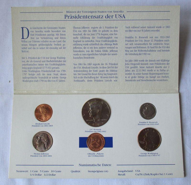Kursmünzsatz mit 5 Münzen die berühmtesten Präsidenten der USA (124673)