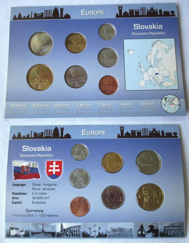Kursmünzsatz mit 7 Münzen Slowakei von 10 Heller bis 10 Kronen (124566)