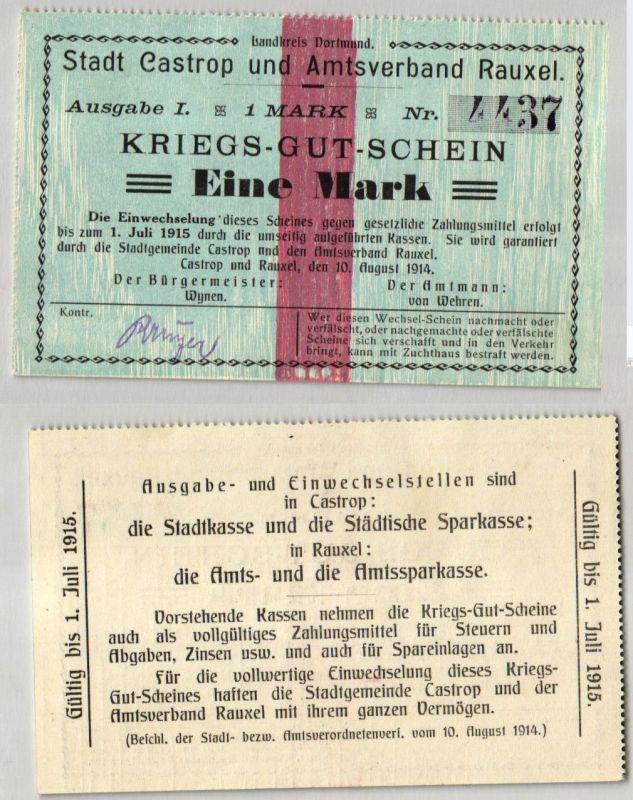 1 Mark 1914 Kriegs-Gut-Schein Stadt Castrop & Amstverband Rauxel (122254)