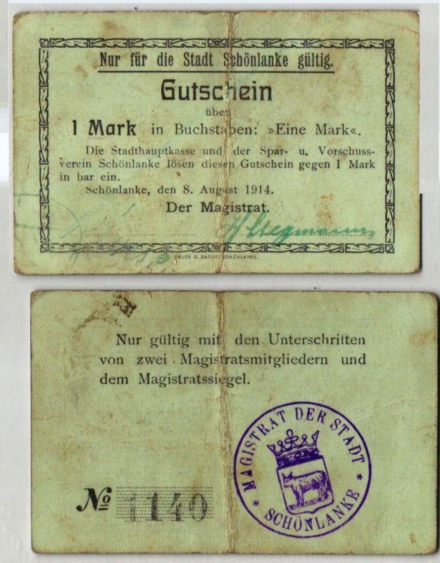 1 Mark Banknote Notgeld Stadt Schönlanke Trzcianka 8.August 1914 (121680)