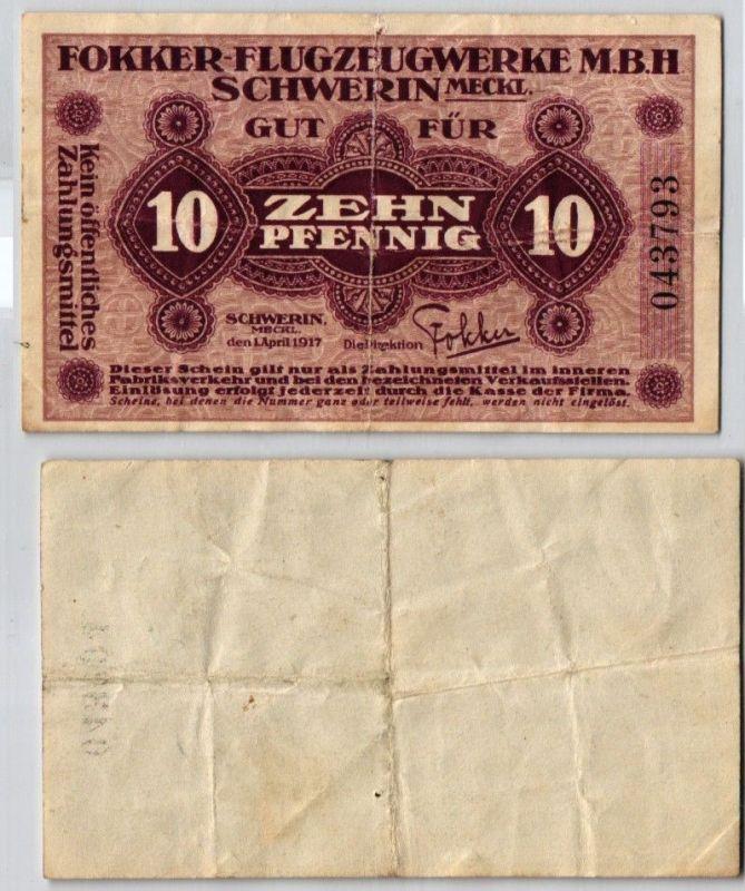 10 Pfennig Banknote Schwerin Fokker Flugzeugwerke mbH 1.April 1917 (122515)