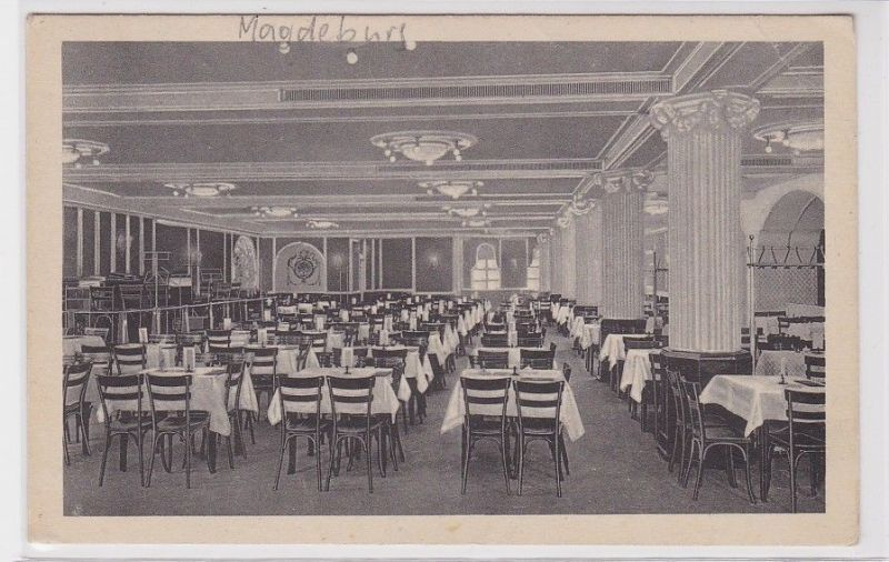 89157 AK Zentral Theater Restaurant Roter Saal Magdeburg 1928