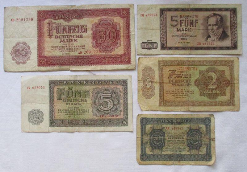 5 verschiedene Banknoten DDR 1948 bis 1964 (120967)