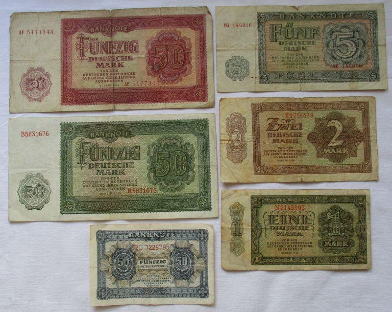 6 verschiedene Banknoten DDR 1948 bis 1955 (121030)