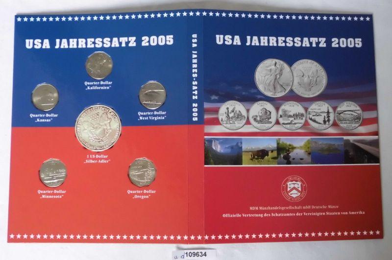 USA Jahressatz 2005 mit 1 Dollar Silber Unze in Stempelglanz (109634)