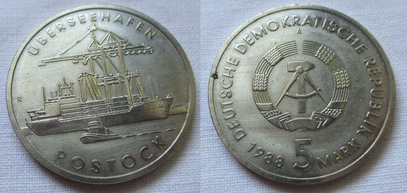 DDR Gedenk Münze 5 Mark Überseehafen Rostock 1988 (124589)