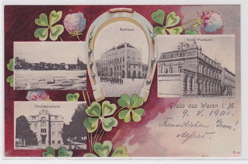 91023 AK Gruss aus Waren in Mecklenburg - Rathaus, Kaiserliches Postamt, Schule