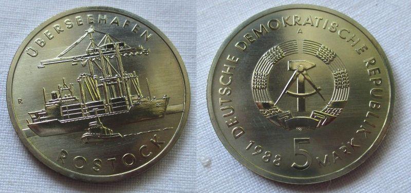 DDR Gedenk Münze 5 Mark Überseehafen Rostock 1988 (124663)