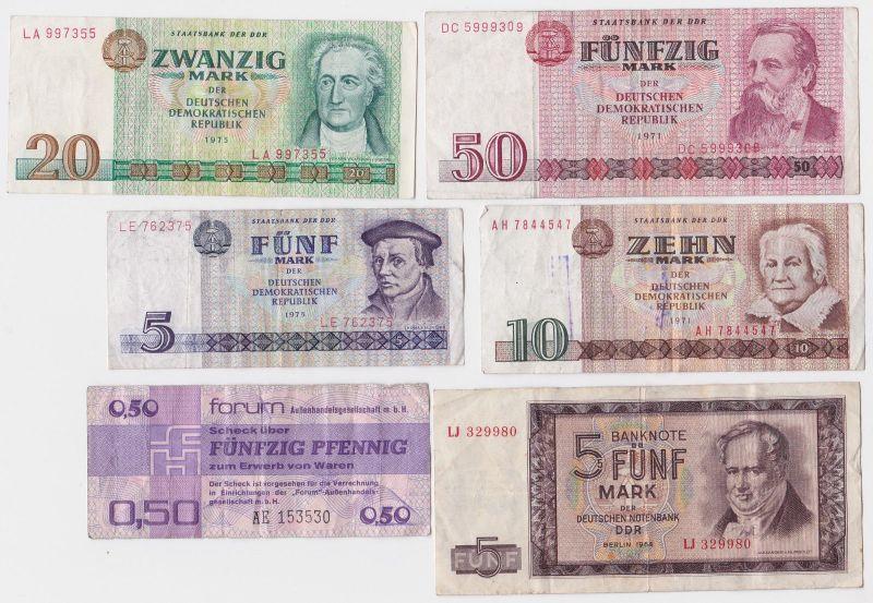 6 verschiedene Banknoten DDR 1964 bis 1979 (120982)