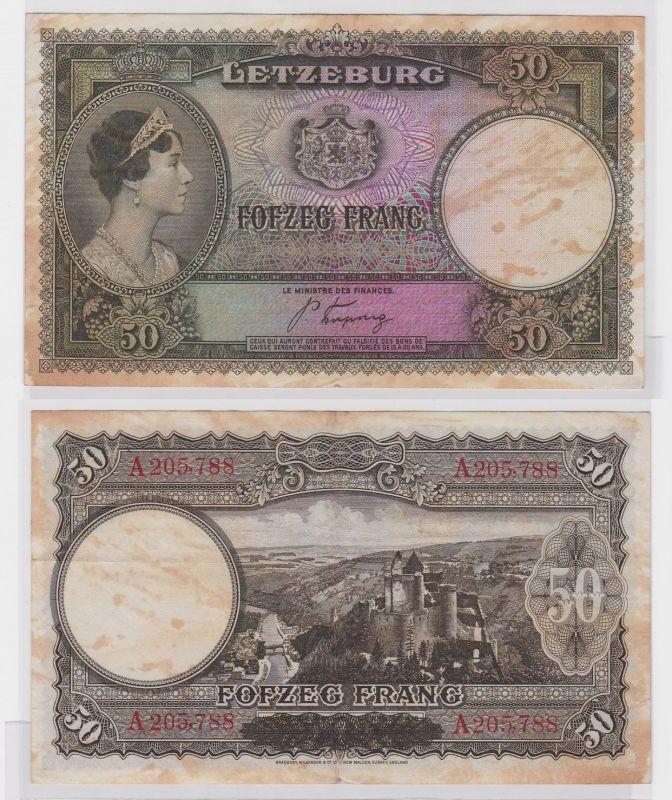 50 Franc Banknote Letzeburg Luxembourg 1944 (121462)