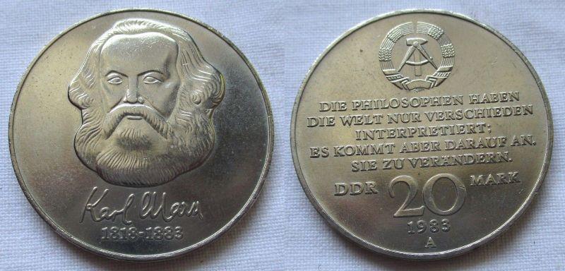 DDR Gedenk Münze 20 Mark Karl Marx 1983 (124598)