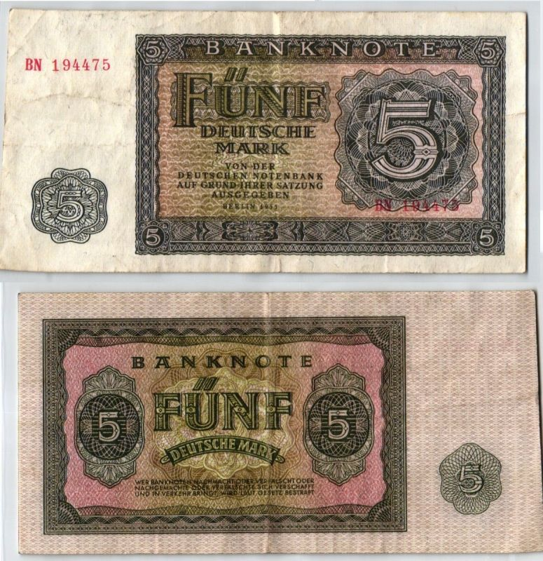 5 Mark Banknote DDR Deutsche Notenbank Berlin 1955 (123390)