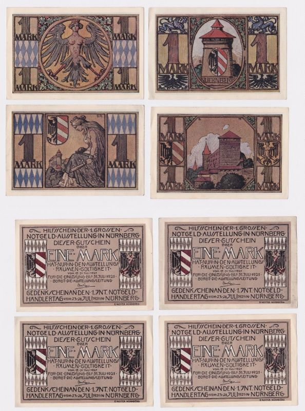 4 Banknoten Notgeld Nürnberg Notgeldausstellung 17.-31.7.1921 (121258)