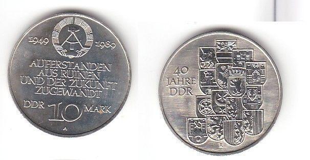 DDR Gedenk Münze 10 Mark 40.Jahrestag der DDR 1989 (114402)