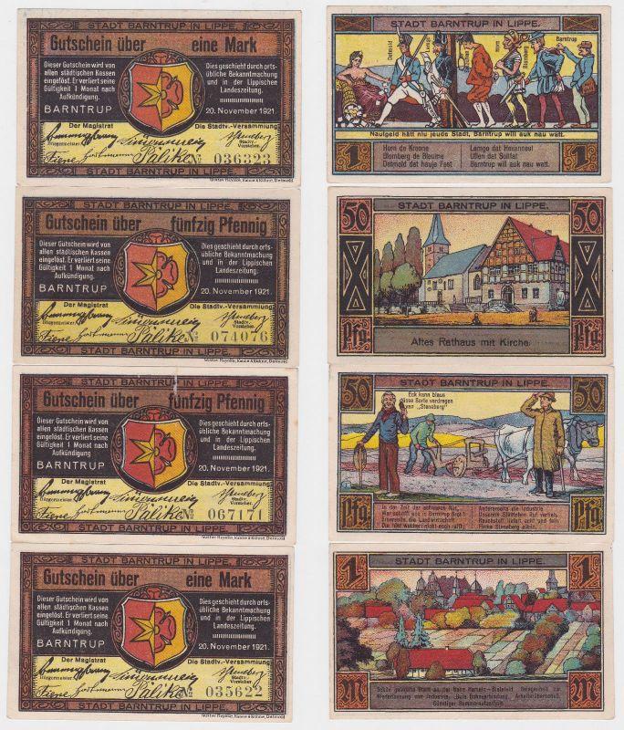 4 Banknoten Notgeld Stadt Barntrup 20.11.1921 (120613)
