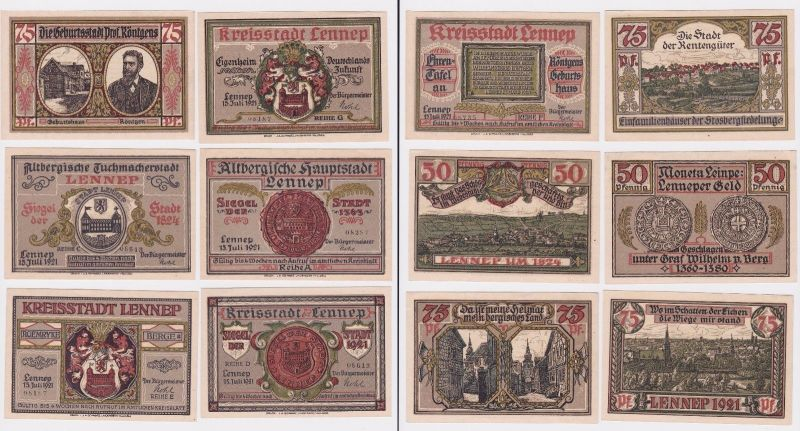 6 Banknoten Notgeld Kreisstadt Lennep 15.7.1921 (121266)