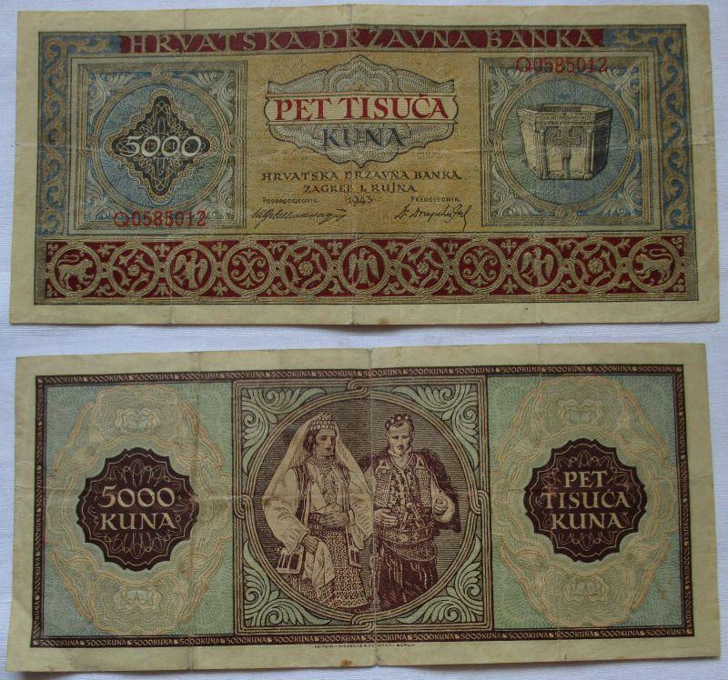 5000 Kuna Banknote Kroatien 1943 (120928)