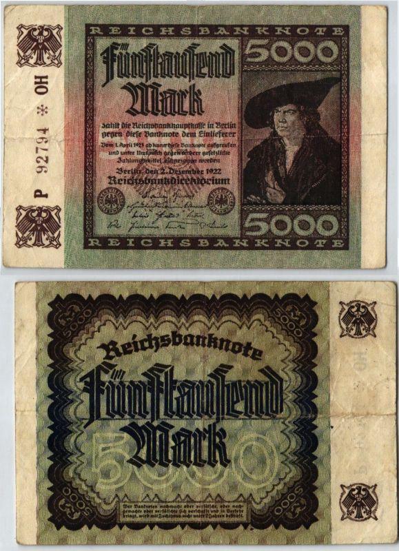 5000 Mark Reichsbanknote Deutsches Reich 2.12.1922 KN 5stellig (120974)