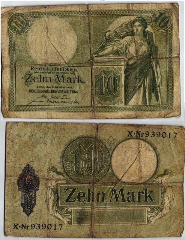 10 Mark Reichsbanknote Deutsches Reich 6.10.1908 KN 6stellig (121610)