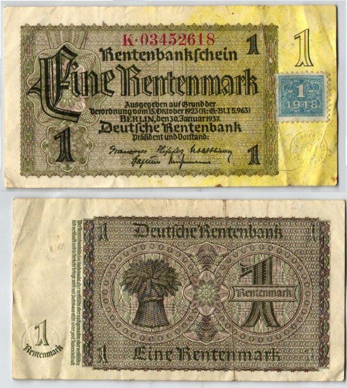 1 Mark Banknote DDR Deutsche Notenbank 1948 Kuponausgabe (121465)