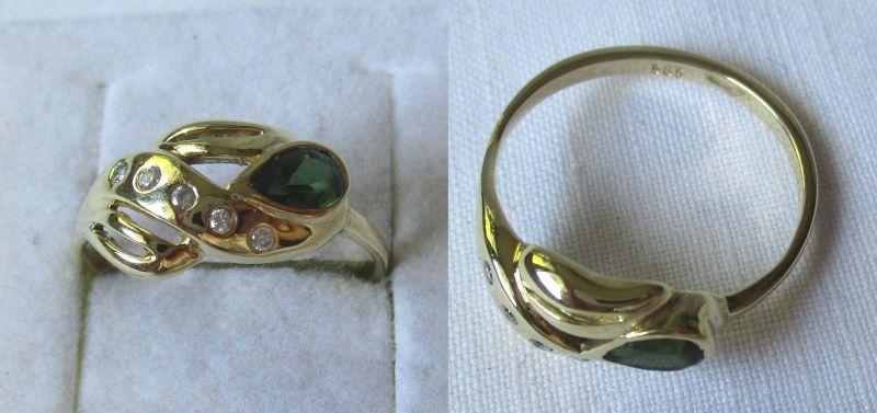 Charmanter 585er Gold Ring Damenring mit kleinen Ziersteinen versehen (124574)