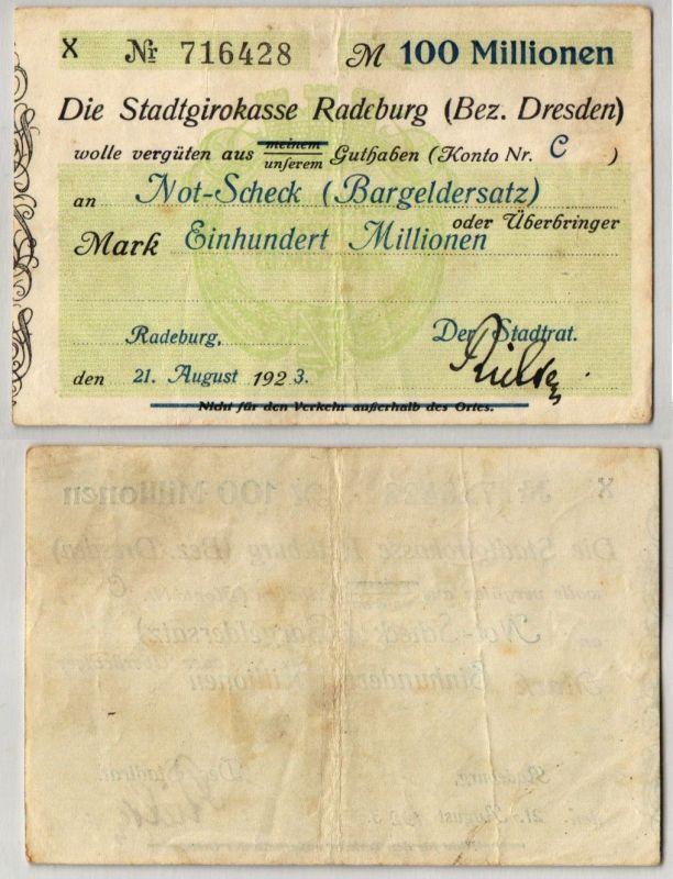 100 Millionen Mark Banknote Girokasse Radeburg 21.August 1923 (109846)