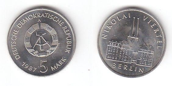 DDR Gedenk Münze 5 Mark Berlin Nikolai Viertel 1987 (112571)