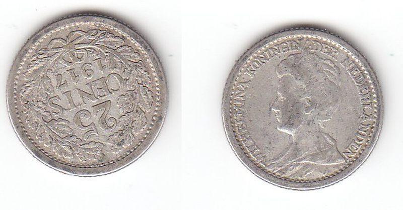 25 Cent Silber Münze Niederlande 1917 (113149)