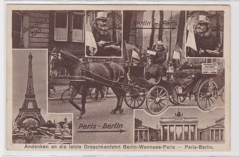 88794 AK Andenken an die letzte Droschkenfahrt Berlin-Wannsee-Paris Paris-Berlin
