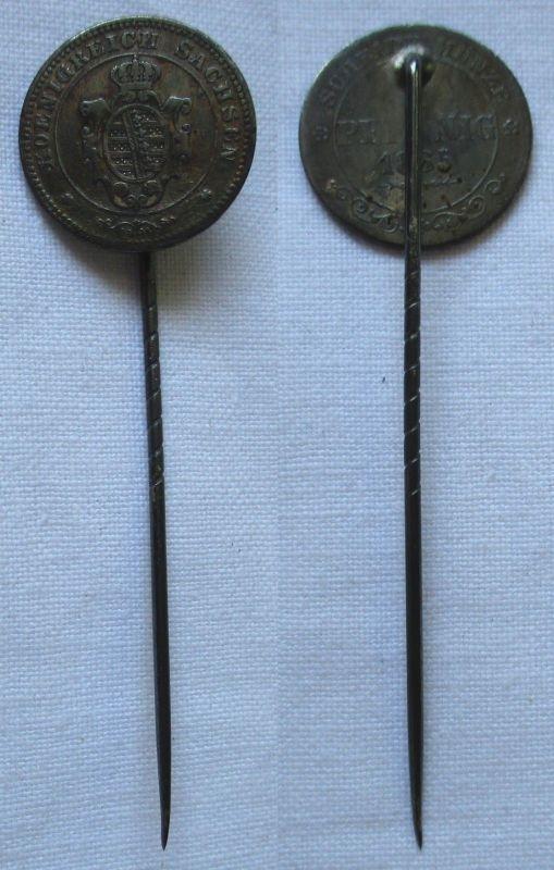 Anstecknadel 1 Pfennig Kupfer Münze Sachsen 1865 B (117463)