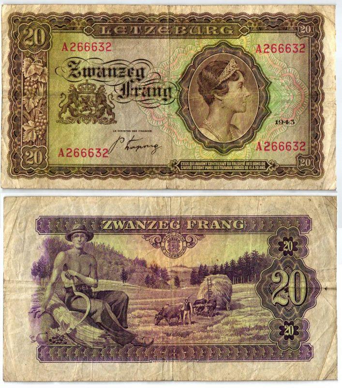20 Franc Banknote Luxemburg 1943 (106338)
