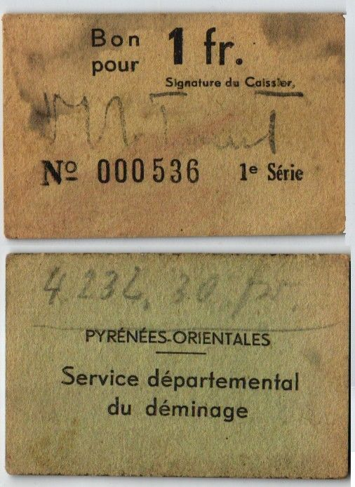 1 Franc Banknote Pyrenees Orientales Frankreich um 1919 (107484)