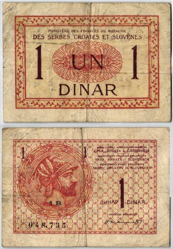 1 Dinar Banknote Jugoslavien Serbien Kroatien Slowenien um 1919 (105190)