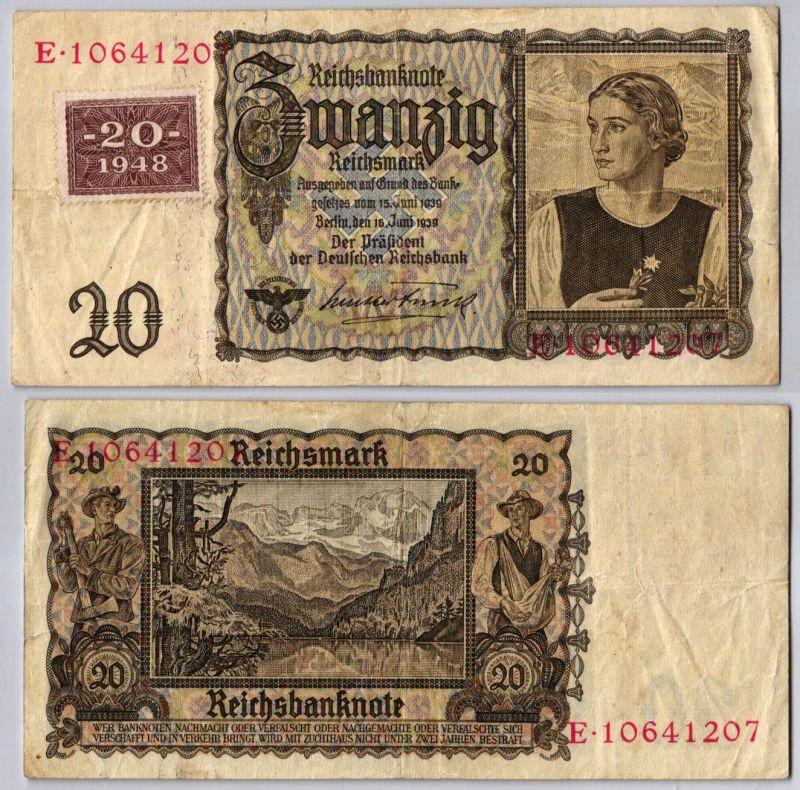 20 Mark Banknote DDR Deutsche Notenbank 1948 Kuponausgabe Ro.Nr.336 (107462)