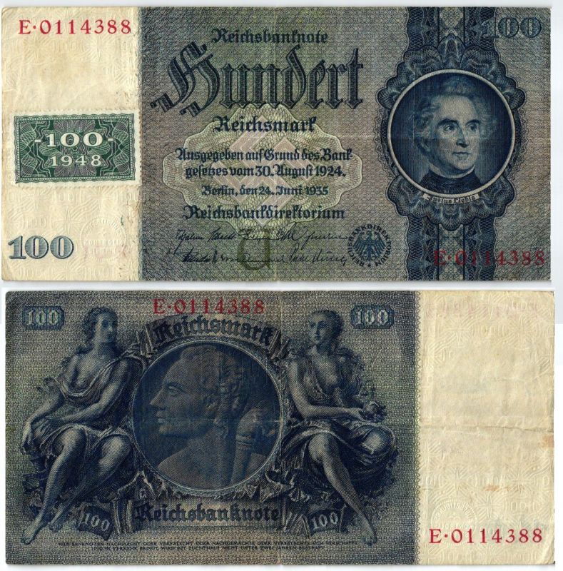 100 Mark Banknote DDR Deutsche Notenbank 1948 Kuponausgabe Ro.Nr.338 (105755) 0