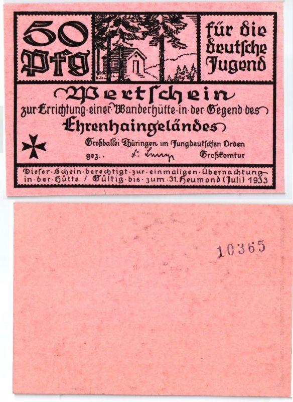 50 Pfennig Banknote Wertschein Jungdeutscher Orden Thüringen 1933 (101140)
