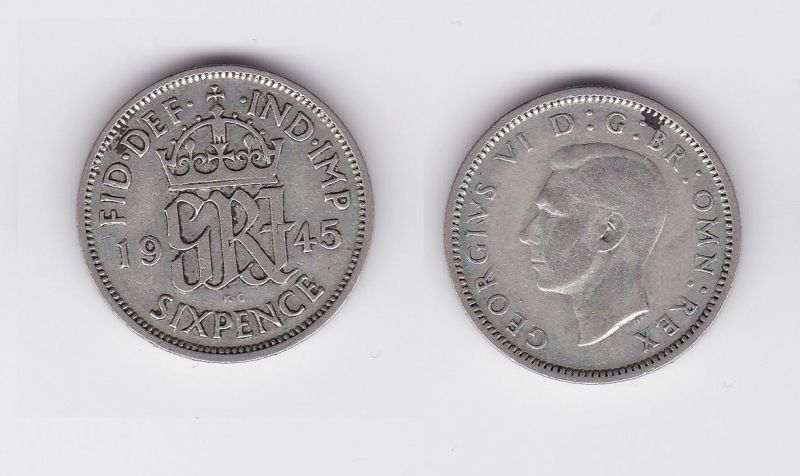 6 Pence Silber Münze Großbritannien 1945 Georg VI. (118479)