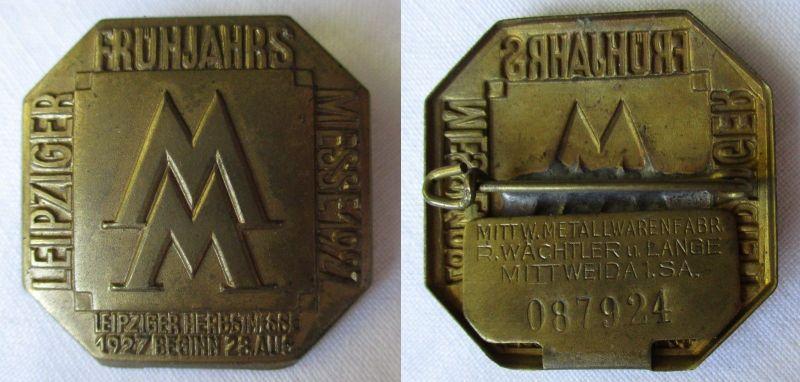 Metall Abzeichen Leipziger Frühjahrsmesse 1927 Einkäuferabzeichen (119182)