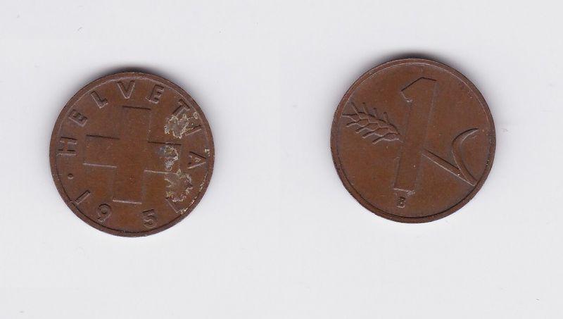 1 Rappen Kupfer Münze Schweiz 1951 B (117706)
